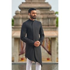 Luxury Bespoke Menswear by Sarah and Sandeep Mens Fashion 2018, Indian Men Fashion, Suit Fashion, Mens Traditional Wear, Traditional Jacket, Indian Groom Wear, Indian Wear, Indian Designer Outfits, Designer Clothes For Men