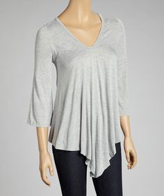 Take a look at this Gray & White V-Neck Top by Beestango on #zulily today!