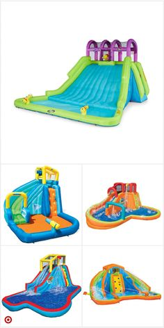 Backyard For Kids, Backyard Ideas, Summer Ideas, Fun Ideas, Banzai Water Slide, Volleyball Set, Cool Pool Floats, Pool Basketball, Inflatable Water Park