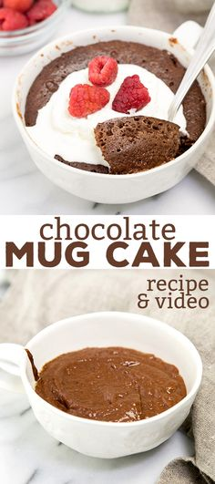 This flourless chocolate mug cake is rich and decadent enough for a single-serve dessert, and healthy enough to have for breakfast. No milk needed!