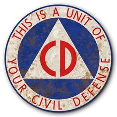 Civil Defense Unit CD Logo Symbol Tin Metal Sign Rusted Vintage FX 14