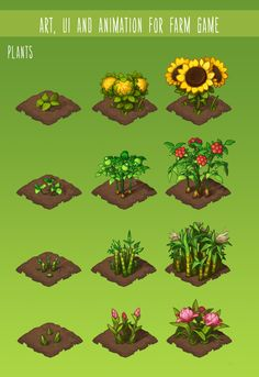 """Art, UI and Animation for """"Bing Han Garden"""" on Behance Isometric Art, Isometric Design, Farm Games, Fruit Cartoon, Game Ui Design, Garden Games, Game Props, Up Book, Game Icon"""