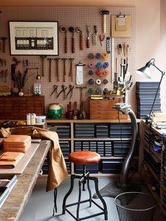 Garage art studio, art studio storage, studio organization, home studio Workshop Studio, Garage Workshop, Workshop Ideas, Workshop Design, Garage Studio, Home Workshop, Basement Studio, Workshop Layout, Artist Workshop