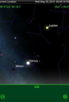 Lua, Júpiter e Vênus após o Sol se pôr  no dia 20 de Maio de 2015.