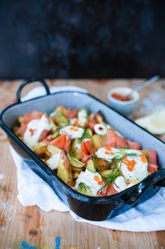 Ofenkartoffelsalat mit Wildlachs Meerrettichcreme und Dill