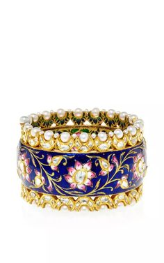 Shop One Of A Kind Diamond And Pearl Floral Bracelet. This opulent bracelet by **Amrapali** features intricate floral motifs rendered in vibrant colors framed by rows of encrusted pearls and diamonds. Bling Jewelry, Wedding Jewelry, Jewelry Accessories, Diamond Bracelets, Bangle Bracelets, Diamond Jewelry, Ladies Bangles, Indian Jewelry, Indian Bangles