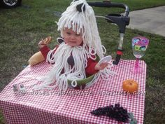 cute baby bowl of spaghetti and meatballs stroller costume - Baby Grinch Halloween Costume