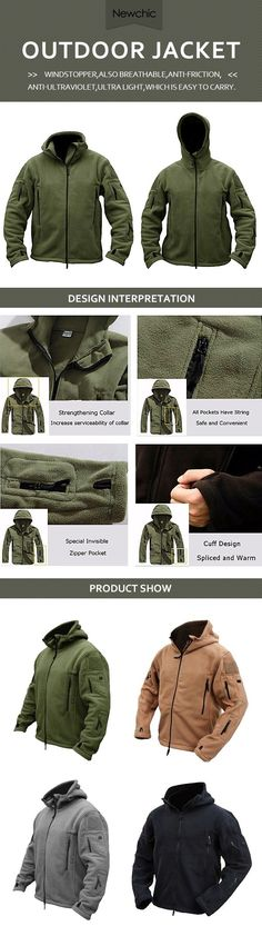 US$40.98#Mens Tactical Military Multi-Pockets Fleece Hooded Outdoor Jacket for Winter