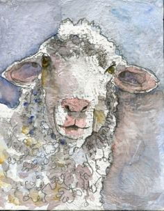 sheep painting... Wonder if I could recreate this with tissue paper....