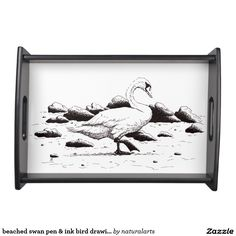 beached swan pen & ink bird drawing service tray