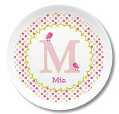 Children's plate with name personalized, baptisale gift, gift birth, children's tableware set melamine, birds letter Plates And Bowls, Color Show, Names, Personalized Items, Tableware, Handmade Gifts, Etsy, Design, Gifts For Children