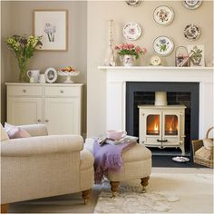 I love this, wood burner is fab. Cottage Living Room Design Ideas | Design Inspiration of Interior,room,and kitchen