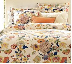 Pottry Barn's Bettina peacock fabric by jimmie Peacock Bedding, Peacock Bedroom, Peacock Fabric, Pottery Barn Duvet, Orange Duvet Covers, Hot House, Home Bedroom, Bedrooms, Houses