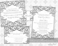 DIY Printable Wedding Invitation Template Set | Printable Invitation Suite (4.5x6.5) | Victorian Florals in Charcoal by WeddingsbyJanieV on Etsy https://www.etsy.com/listing/179108919/diy-printable-wedding-invitation