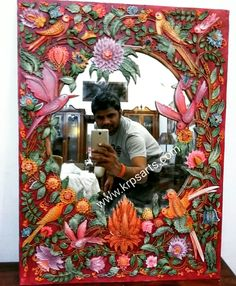 Relief Mirror Painting on Looking Mirror, 3D Work in Oil color