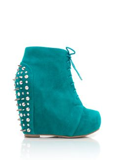 Affordable, in style and in all colors. The Spiky suede wedges $49.00 Get it before they fly off the shelves you smart budgeted ladies. Don't spend a fortune they look as good as the high end designs! ;)