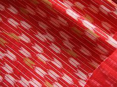 Tissu japonais Kasuri / Ikat traditionnel en coton flèches rouge 110*50 cm : Tissus Ameublement par yoshiiii