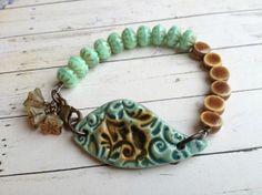 Honey Pot. Ceramic Leaf Bead Bracelet. Mint by YoursBlissfullyToo, £24.00
