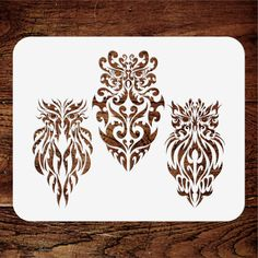 Tribal Owls Stencil Owl Stencil, Animal Stencil, Wallpaper Stencil, Stencils, Pet Birds, Owls, Diy Home Decor, Craft Ideas, Nature