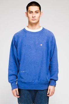 Vintage Champion sweater from LA-based designer Luda Khanlari, reworked with Italian mesh panel.