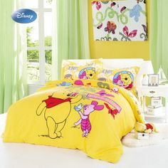 yellow winnie the pooh bedding set for kid bedroom decor cotton bed cover sheet queen size home textile twin bedspread comforter Winnie The Pooh Bedding, Cute Winnie The Pooh, Boys Room Curtains, Kids Bedroom, Bedroom Decor, Disney Bedding, Bedspreads Comforters, Nursery Neutral, Neutral Nurseries