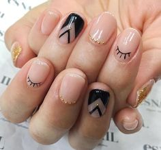 Black Eyelash Nail Design