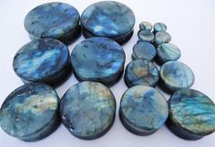 Labradorite stone plugs A grade high flash 0g 1 by wotwjewelry