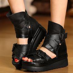 3244823acf1f Gladiator Womens Shoes Ankle Strap Wedge Heel Platform High Top Sandals  Roma J24 Platform Boots