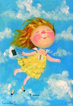 Happy Art, Angel Art, Painting For Kids, Book Illustration, Beautiful Children, Love Art, Photo Art, Fairy Tales, Concept Art