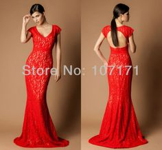 Delicate V-neck Short Sleeve Sheath Keyhole Back Red Long Evening Lace Dress Formal Gown on AliExpress.com. $140.00