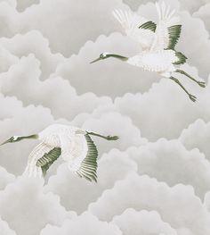 Cranes In Flight Platinum wallpaper by Harlequin