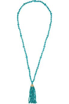 Kenneth Jay Lane Faux turquoise beaded tassel necklace+|+THE OUTNET