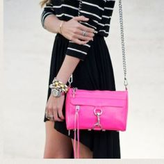 Neon Pink Rebecca Minkoff Mini MAC Authentic. Neon pink with silver hardware. The third picture is the best representation of the color of the purse. As seen on Paris Hilton. Rebecca Minkoff Bags