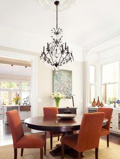 Love the chandelier in this dining room!  The owner of this home placed similar chandeliers in the entry and living room.  What a great look!