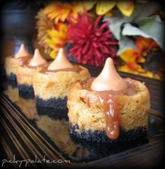 Mini Caramel Pumpkin Cheesecake Bites