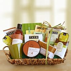 A 'Be Well' gift ~ Tazo Zen green tea, English tea cookies, green tea mints, organic soap, massage oil and body créme products, assor… | Gift Givings
