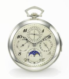 L. SANDOZ-VUILLE INC. A FINE WHITE GOLD PERPETUAL CALENDAR MINUTE REPEATING POCKET WATCH WITH MOON PHASES NO 71185 CIRCA 1920