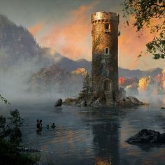 Bran, Hodor, Jojen and Meera to the lake tower in Queenscrown - By Michael Komarck for the 2009 A Song of Ice & Fire Calendar