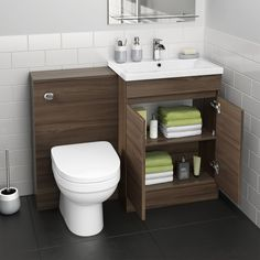 Trent Walnut Effect Combined Vanity Unit - Short Projection Pan Bathroom Shelving Unit, Small Bathroom Shelves, Bathroom Sink Units, Shiplap Bathroom, Bathroom Toilets, Modern White Bathroom, Yellow Bathrooms, Modern Bathroom Design, Bathroom Interior Design
