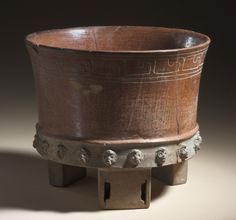 Tripod Vessel with Moldmade Heads Mexico, Teotihuacan, Teotihuacán, A.D. 300-600 LACMA