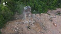 Unikátní záběry: Děmolice věže kláštera na Spáleništi ( Chebská televize )