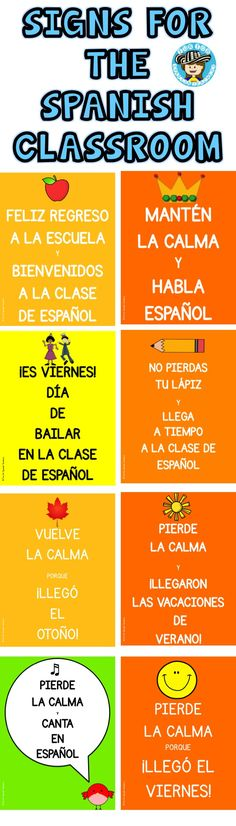 Set of classroom signs in Spanish. Fun for the Spanish classroom!