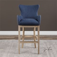 Norwalk Blue Suede Bar Stool. We love this for a high top kitchen table. So comfy!