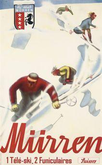 vintage ski poster. SCHETTLER   MÜRREN   lithograph in colours, c.1930