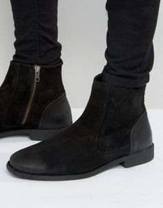 ASOS Chelsea Boots In Black Suede With Leather Heal Detail