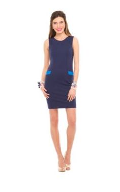 "Lilly ""Allaine"" navy shift dress with contrast pockets - so Jackie, love love"