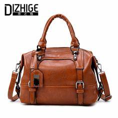 DIZHIGE Brand Boston Women Bag Vintage Four Belts Shoulder Bags Sequined  Women Handbags Designer PU Leather Bags Ladies 2017 New 7dc0502267