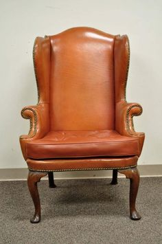 antique 19th century burnt orange distressed leather english wingback chair