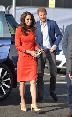 Catherine, Duchess of Cambridge and Prince Harry arrive at the official opening of The Global Academy in support of Heads Together at The Global Academy on April 20, 2017 in Hayes, England.