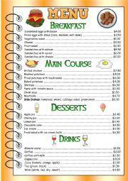 Restaurant Menu for speaking - ESL worksheet by EmpireOfEnglish Spanish Restaurant Menu, Resturant Menu, Spanish Menu, Restaurant Menu Card, Hotel Menu, Cafe Menu, English Food, Learn English, English Lesson Plans